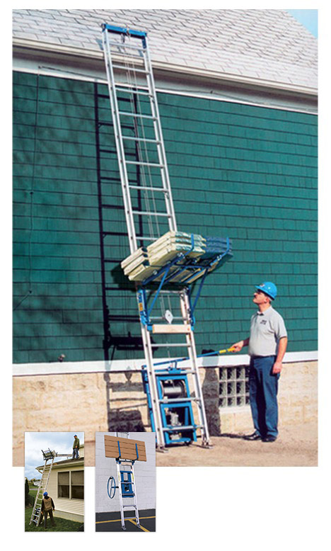 Ladder Platform Shingle Hoist